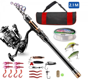 BlueFire Fishing Rod Kit, Carbon Fiber Telescopic Fishing Pole