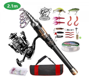 ShinePick Fishing Rod Kit, Telescopic Fishing Pole and Reel Combo Full Kit