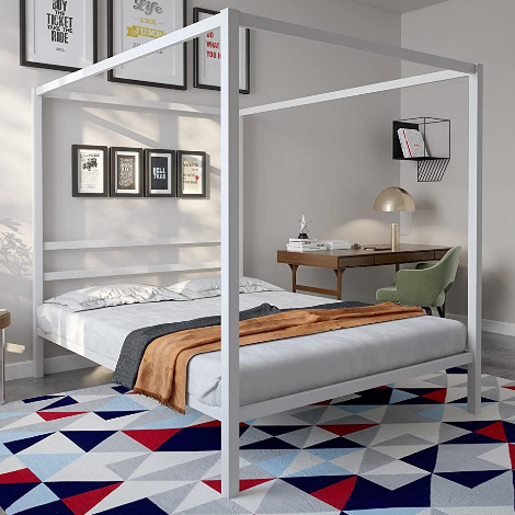 DHP Modern Canopy Bed with Built-in Headboard
